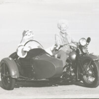 Katherine Hoffman Haley and Santa Claus on a Motorcycle