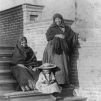 Basketmakers and Little Girl on Mission Steps