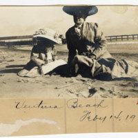 Woman and girl on Ventura Beach