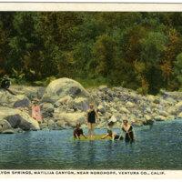 Bathing at Lyon Springs, Matilija Canyon postcard