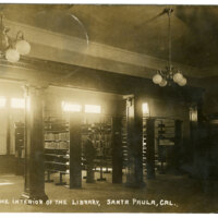 View of the Interior of the Library, Santa Paula postcard