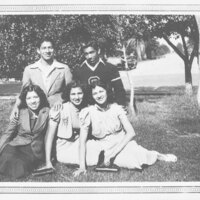 Group Photo, Young Men and Women on Grass