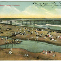 Beach Scene at Ventura Wharf Postcard