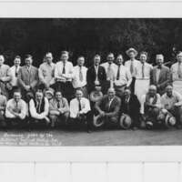 Group photograph of barbecue put on by National Tool and Metals, Inc.