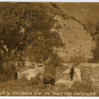 Stone Ditch, Built by the Indians Over 130 Years Ago, Ventura, Cal Postcard