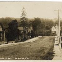 A View On Oak Street, Ventura, Cal. Post Card