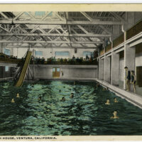 Ventura Bath House, Ventura, California undated postcard