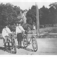 Jack Strobel and Friend with Bicycles, Armistice Day Parade