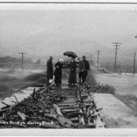 Sespe Bridge During Flood 1914 postcard