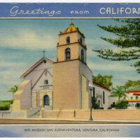 Greetings from California, Mission San Buenaventura, California 1950 postcard